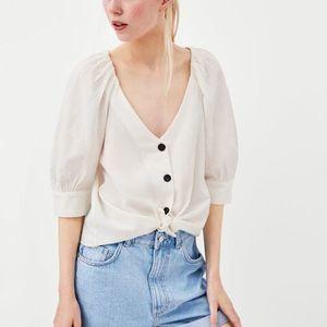 Zara Cotton V neck Blouse